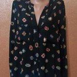 Блузка рубашка свободная разноцветный принт размер 10-12 ZARA