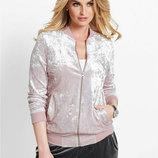 Велюровая куртка бомбер с карманами р.2XL Bonprix цвет пепел розы