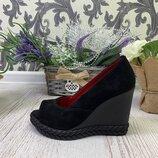 туфли на танкетке, натуральный замш или кожа, 5 расцветок