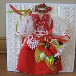 Открытка с платьем в украинском стиле