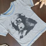 Стильная х/б футболка с забавной обезьянкой р.92-98