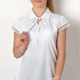 Блуза школьная с коротким рукавом на девочку 2712 Тм Mevis Размеры 146 - 164