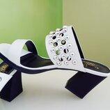 Босоножки шлёпанцы шлёпки на каблуке, размер 39