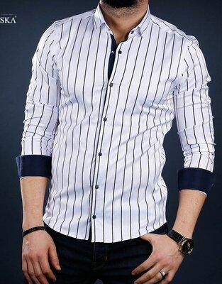 Рубашка мужская длинный рукав Турция 01-41-303