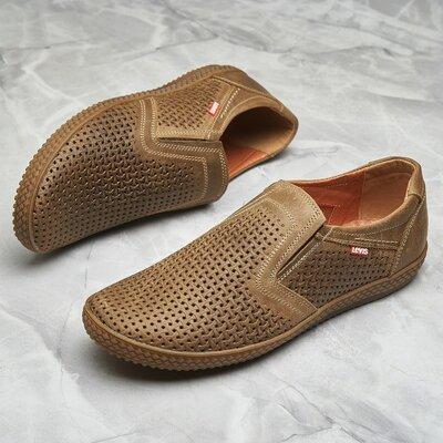 Кожаные мужские туфли Levis model - 29 ,бежевые перфорация 40.41.42.43.44.45