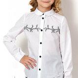 Блуза школьная с длинным рукавом на девочку 2722 Тм Mevis Размеры 122- 146