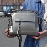 Шикарная сумка из натуральной кожи, серебро