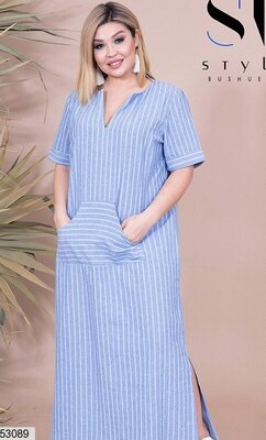 Натуральное длинное летнее платье сарафан ткань лен в полоску большого размера скл.1 арт.53089