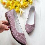 Распродажа Невесомые натуральные кожаные летние балетки туфли