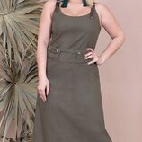 Летний сарафан платье с шнуровкой ткань натуральный лен хит сезона большие размеры скл.1 арт. 53086