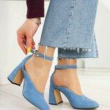 Туфли Modus Vivendi, натуральная замша, голубые