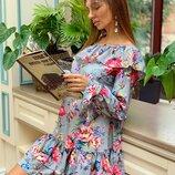 Платье с воланами «Жаннет» 42 - 46 четыре расцветки