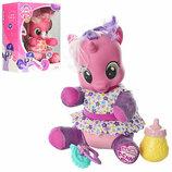 Пони лошадка My little pony свет, музыка, соска, бутылка.Розовая с рогом 66241/66228