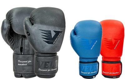 Перчатки боксерские кожаные на липучке Velo 8187 10-14 унций 3 цвета
