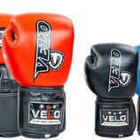 Перчатки боксерские кожаные на липучке Velo 8186 10-12 унций 3 цвета