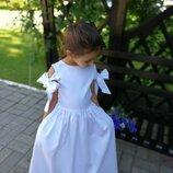 Белоснежной платье Шарм на девочку хлопковое нарядное с бантами