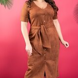 Платье 42-XL Эко замша бежевый черный горчичный