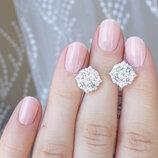 Сережки с камнями круглые