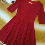 Красивое кружевное платье темно-красного цвета размер S-М