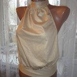Золотистая блуза Miss S р.10 открытая спинка