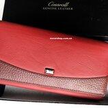 Красный кошелек женский Сossroll натуральная кожа. Женское кожаное портмоне. Бумажник в коробке.