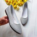 Супер новинка 2019 Невесомые натуральные кожаные летние балетки туфли
