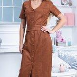 Шикарное приталеное замшевое платье отличного качества скл.1 арт. 53218