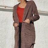 Длинный женский кардиган ткань трикотаж вязка все размеры скл.1 арт.53212