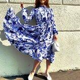 Воздушное платье «Цветы» 42 - 46 две расцветки
