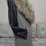Пальто-Косуха.с кожаными рукавами.Р 44-46