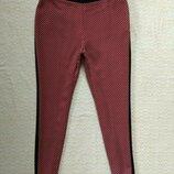 Стильные штаны брюки с лампасами в принт M&S, 12 размер.