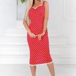 Милый женский коттоновый сарафан платье в горох с кружевом скл.1 арт.53250