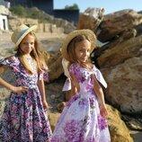 Яркое модное платье Шарм нарядное на девочку хлопковое