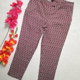 Супероавые стрейчевые укороченные брюки в орнамент H&M.