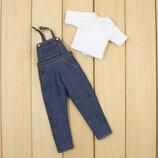 Джинсовый комбинезон и футболка набор одежды для куклы Блайз, Пуллип, Айси. Одежда для Pullip, ICY и