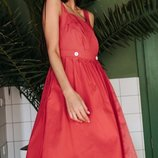 Стильный женский коттоновый сарафан платье в горох на запах скл.1 арт.53238