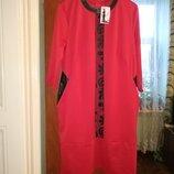 Платье с отделкой из эко кожи