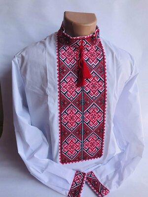 Красивая мужская вышиванка красная недорого