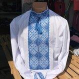 Красивая мужская вышиванка синяя недорого