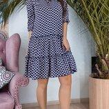 Стильное принтовое платье в рюшки ткань супер-софт с поясом скл.1 арт.53290