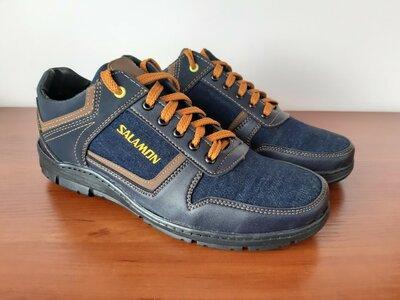 Мужские кроссовки туфли джинсовые синие - чоловічі кросівки туфлі джинсові сині