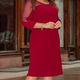 Шикарное женское платье ткань креп-дайвинг рукав сетка горох большие размеры скл.1 арт.53283