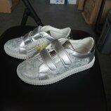Модные кеды для девочек, потертое серебро р 33-37. В наличии.
