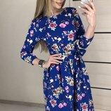 Шикарнейшее коттоновое платье с цветочным принтом скл.1 арт.53329