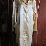 Атласный халат-рубашка золотого цвета Basic Line