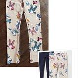 Красивые легинсы h&m, трегинсы, штаны, брюки из лёгкого футера с птичками/ 128см 7-8 лет