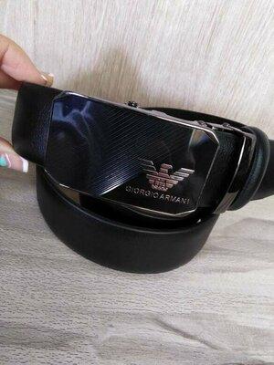 Кожаный мужской ремень в стиле Armani, универсальный, автомат