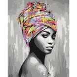 Картина По Номерам. африканськая Красота 40 50СМ KHO4587. Дівчина.