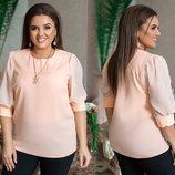 Блузка Ткань софт маями, шифон Длина блузы 72 см, рукав 45 см. Женственная модель из софта маями и