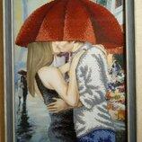 Картина пара под зонтом